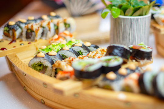 varieties of sushi on the buffet