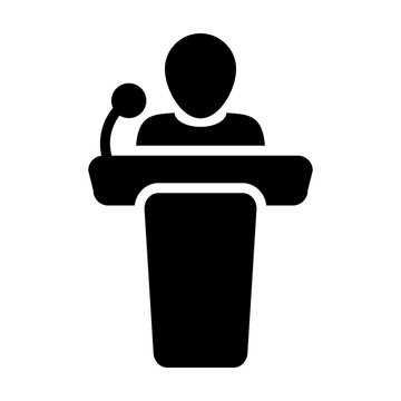 Conference icon vector male person on podium symbol for business meeting with microphone in glyph pictogram illustration