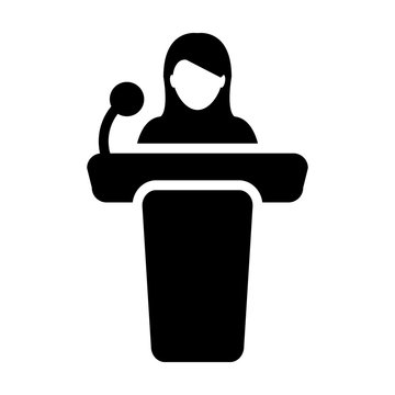Seminar icon vector female person on podium symbol for public speech with microphone in glyph pictogram illustration