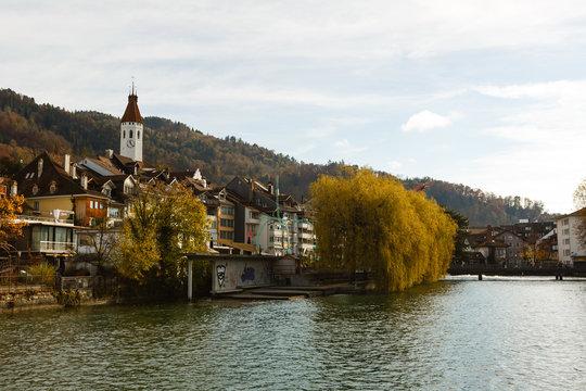Thun, Switzerland - October 30, 2017: autumn panorama of the city sunny day
