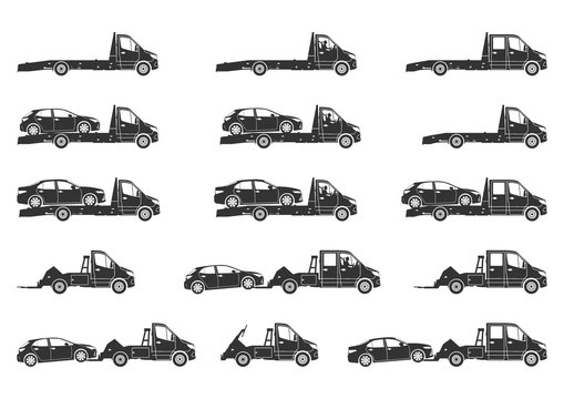 Tow truck and wrecker silhouettes. Set of modern recovery vehicle with broken cars . Side view. Flat vector.