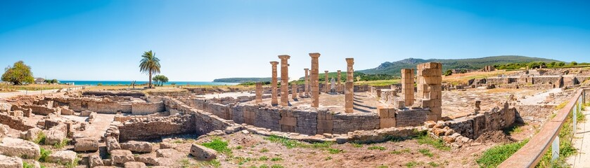 Panorama view of the ancient Romans ruins of Baelo Claudia, next to the beach of Bolonia, near Tarifa in Cadiz in the south of Spain. Wall mural