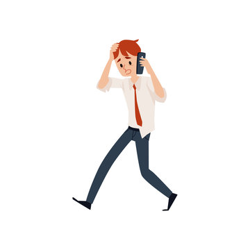 Worried business man talking by mobile phone and holding his head cartoon style