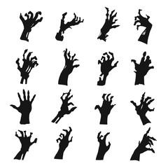 Zombie hands silhouette set, black creepy symbol
