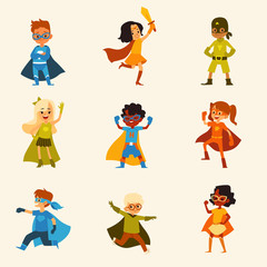 Set of kids characters in colorful superhero costumes cartoon style