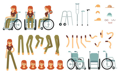 Constructor set for disabled woman creation cartoon style