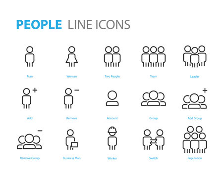 set of people icons user, man, teamwork, friend, social media
