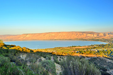 Sunset view of the Sea of Galilee or Kinneret lake, Israel