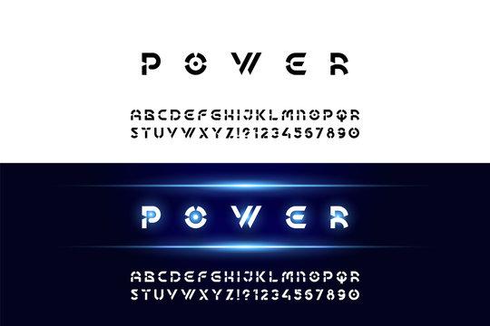 Geometric font.