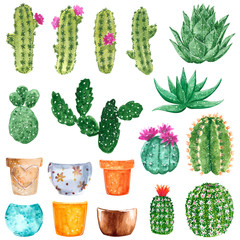 Clipart set with green cactuses blooming with pink and orange flowers and clay pots, hand drawn watercolor illustration isolated on white