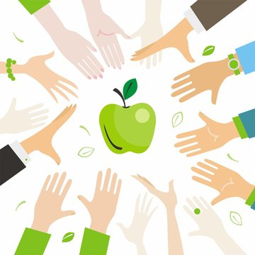 people pull hands to apple