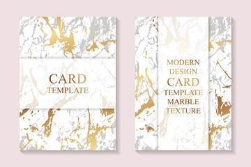 Modern card template designs with golden marble texture.