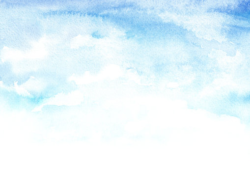 Blue sky with clouds, Watercolor hand drawn illustration