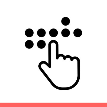 Braille vector icon, blind symbol. Simple, flat design isolated on white background for web or mobile app