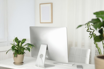 Office interior with houseplants and computer monitor on table