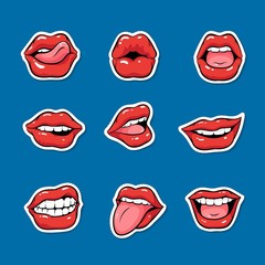 Set of female mouths with red lipstick cartoon pop art style