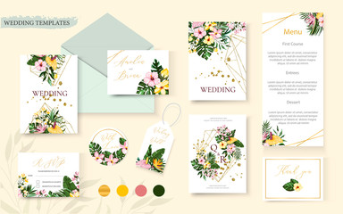 Wedding tropic exotic floral summer gold invitation card save the date envelope Wall mural