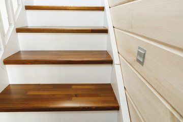 wooden stairs at home, close-up view