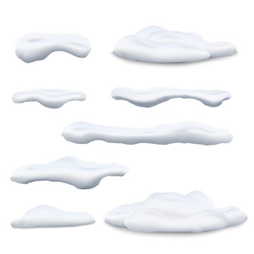 Set of snow caps and snowdrifts 3d realistic vector illustrations isolated.
