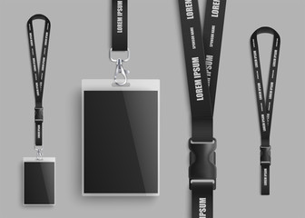 Realistic ID card mockup with blank photo and name identification badge set