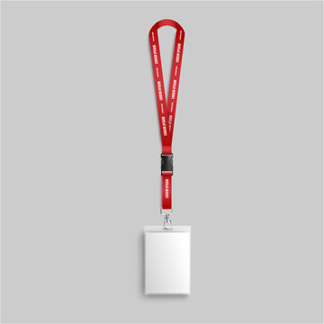 Blank white identity card lanyard hanging on red neck strap with text template, realistic mockup of name and photo identification badge