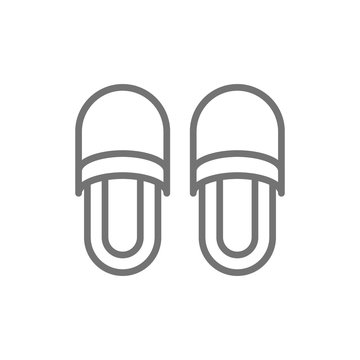 Slippers, house shoes line icon.