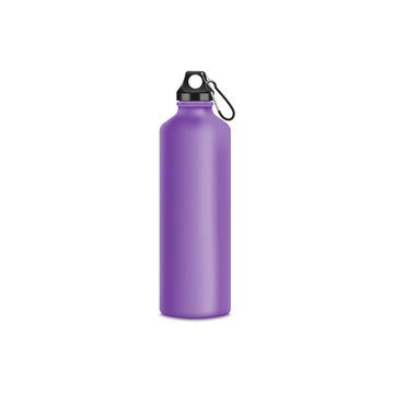 Mockup of blank purple aluminum sport bottle with fastening clip realistic style