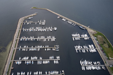Aerial view of Holbaek marina, Denmark