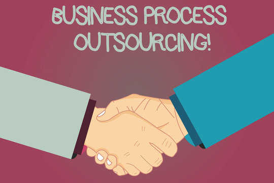 Conceptual hand writing showing Business Process Outsourcing. Business photo text Contracting work to external service provider Hu analysis Shaking Hands on Agreement Sign of Respect and Honor