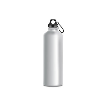 Grey sport bottle mockup, realistic metal water container with stainless steel texture and black lid and climbing clip
