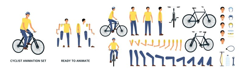 Cartoon character with bicycle animation kit, young man riding a bike with helmet, movement constructor with separate body parts and limbs