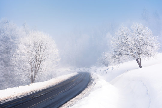 road through forest in winter. amazing foggy weather. trees in hoarfrost. roadside covered with high snow. cold and bright forenoon. deceptive nature beauty concept. keep your eyes on the road message