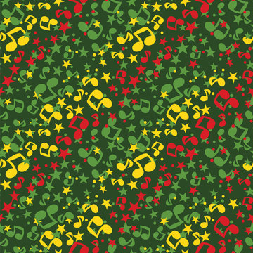 Simple music notes seamless pattern, reggae colors