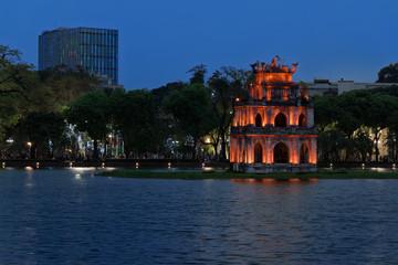 Thap Rua (Turtle tower) at night. Hanoi, Vietnam Wall mural