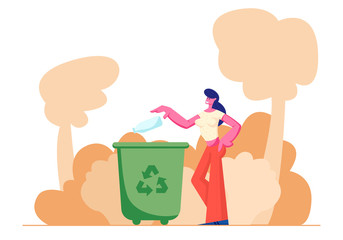 Female Character Throwing Trash into Litter Bin Container with Recycling Sign. Ecology Protection, Earth Pollution Problem, Woman Eco Activist, Plastic Reuse Solution Cartoon Flat Vector Illustration
