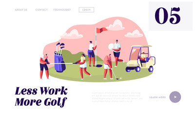 Young Characters with Golf Equipment and Cart, Happy People Relaxing on Golf Field, Sports, Outdoors Fun, Healthy Lifestyle Website Landing Page, Web Page. Cartoon Flat Vector Illustration, Banner