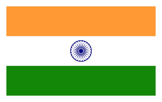 Vector Illustration of Indian tricolor flag. Official colors used.