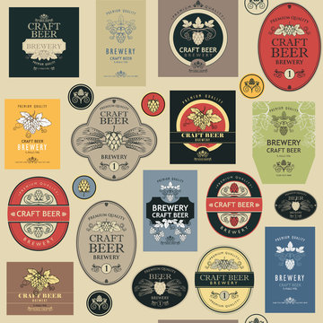 seamless pattern with various beer labels in retro style