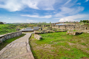 The ruins of the ancient Hittite city of Alacahöyük, necropolis in Turkey.