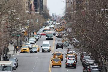 Foto auf AluDibond New York TAXI Heavy Traffic in Manhattan, New York