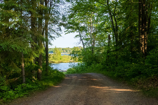 Road leading to boat launch at the Chippewa Flowage