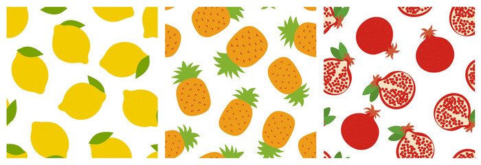 Lemon, pineapple and garnet. Fruit seamless pattern set. Fashion design. Food print for clothes, linens or curtain. Hand drawn vector sketch. Exotic background collection
