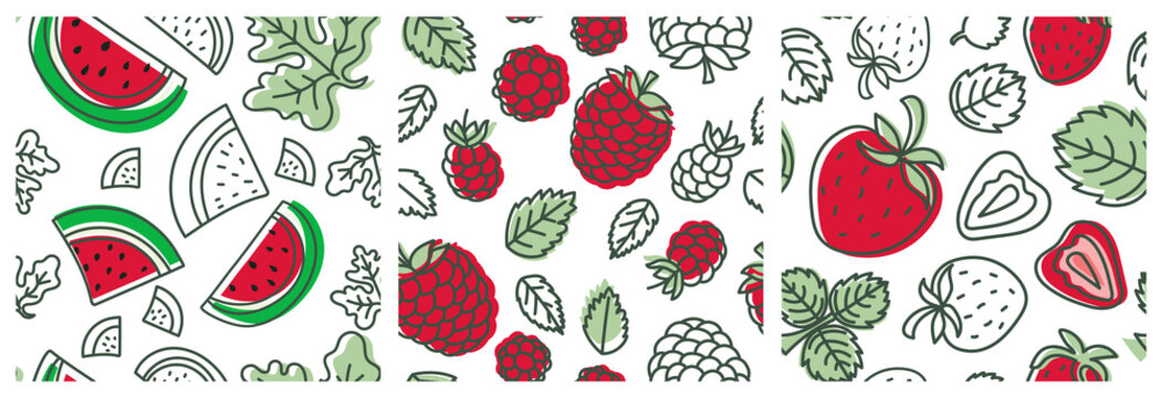 Red berry seamless pattern set. Watermelon, raspberry and strawberry. Fashion design. Food print for clothes, linens or curtain. Hand drawn vector sketch. Exotic background collection