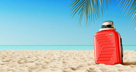 Wall Mural - Red suitcase with beach accessories on sand. Travel summer vacation concept. 3d rendering