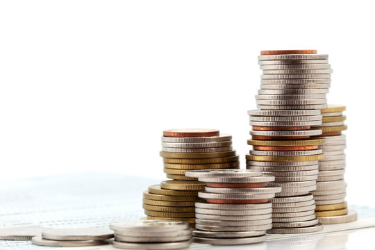 Stack of coins isolated on white background,concept of business planning and finance and savings