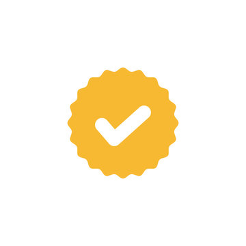 Check mark, white tick in yellow circle sign. Valid seal icon vector illustration on white background