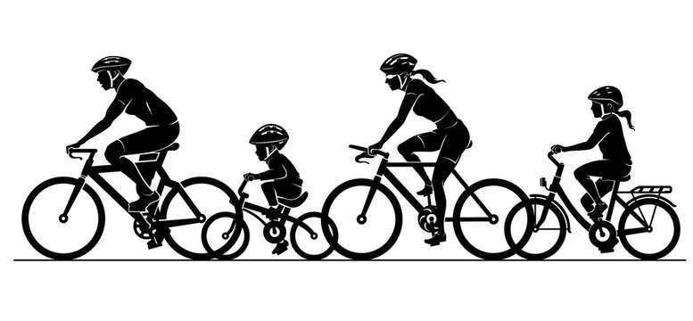 Family Cycling Together Silhouette Set