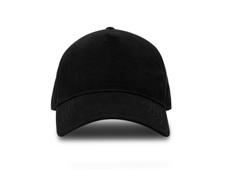 Black baseball cap isolated on white background with clipping path.