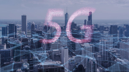 Wall Mural - 5G Technology Concept,Innovation wireless Technology digital marketing with Chicago city