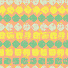 Vector orange seamless pattern of diamond and squares stripes with grunge texture. Suitable for textile, gift wrap and wallpaper.
